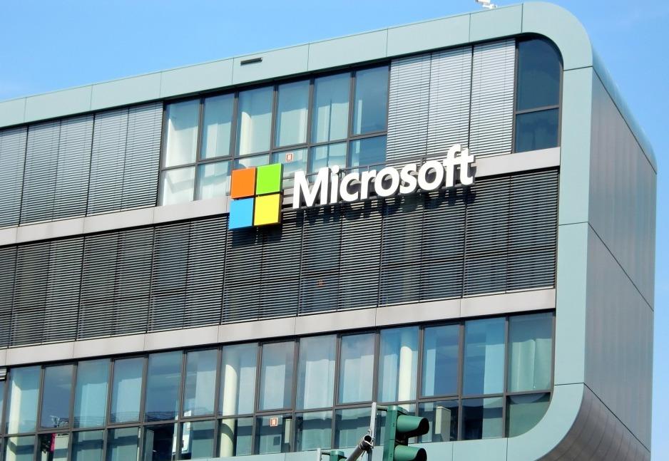 マイクロソフト社ビルとロゴ