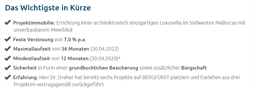 bergfürst 投資条件